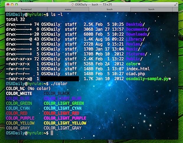 Finestra del terminale con immagine di sfondo in Mac OS X