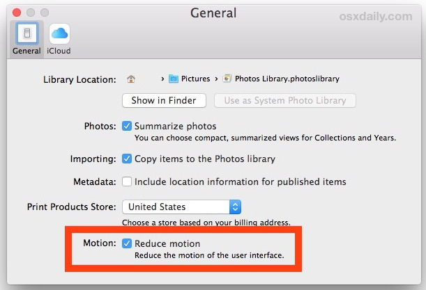 Riduci l'immagine Motion in Photos per Mac OS X
