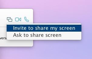 Invita a condividere lo schermo, chiedi di condividere lo schermo