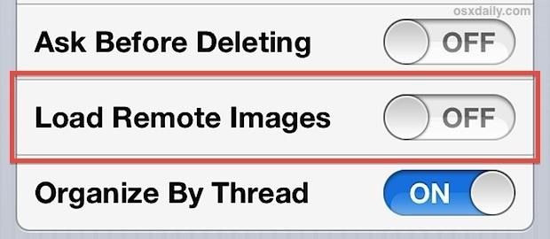 Attiva / disattiva Carica immagini remote nell'app Mail su OFF (o ON)