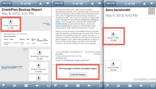 Carica in modo selettivo le immagini nell'e-mail su iPhone