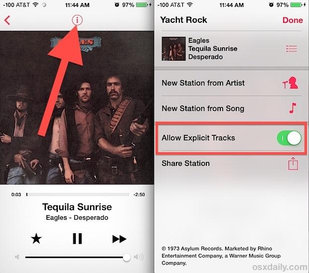 Filtro dei testi esplicito di iTunes Radio in iOS