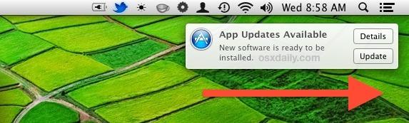 Scorri per ignorare una notifica di aggiornamento del software