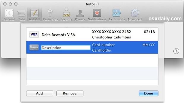 Safari aggiungendo i dati della carta di credito a Riempimento automatico con iCloud Keychain