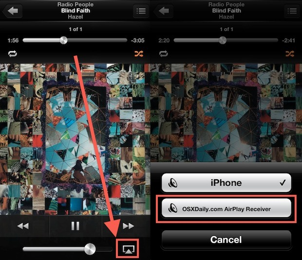 Invia musica ad un AirPlay Receiver in iOS