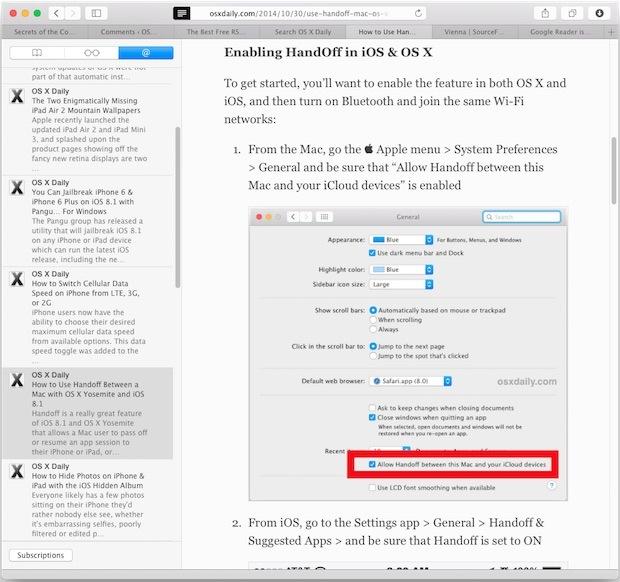 Lettore RSS di Safari in Mac OS X