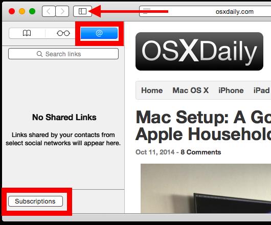 Aggiungi un abbonamento RSS a Safari