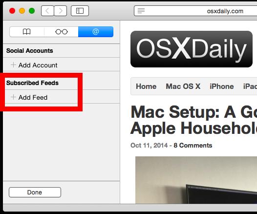 Aggiungi feed RSS in safari su Mac