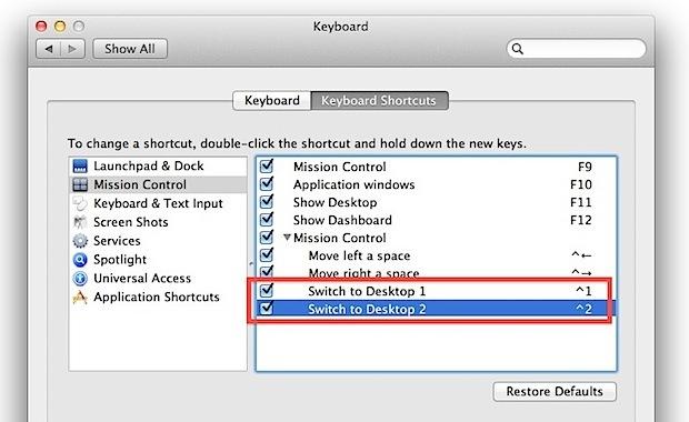 Passaggio veloce tra i desktop in Mac OS X 10.7 con i tasti di controllo