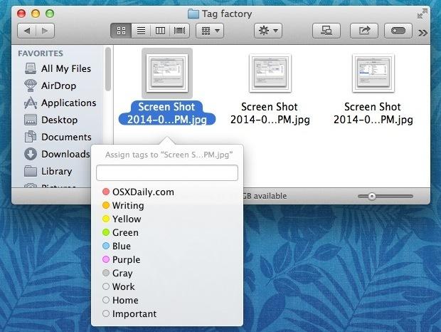 Tagga i file con la scorciatoia da tastiera in OS X