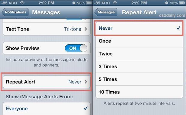 Disattiva gli avvisi di messaggi di testo ripetuti su iPhone