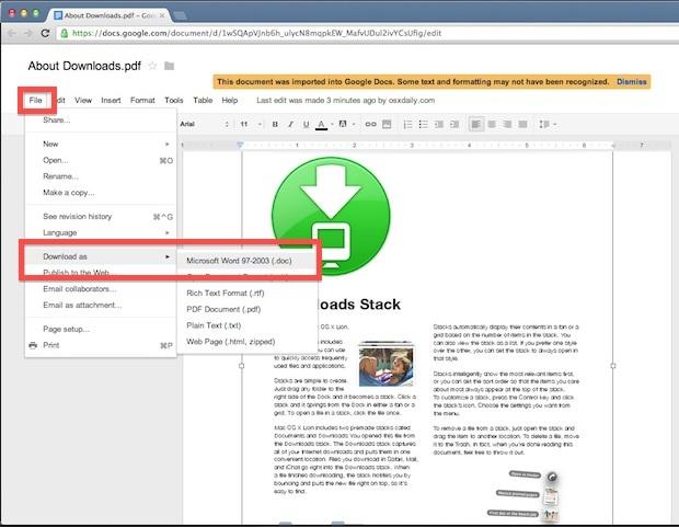 Converti un PDF in DOC gratuitamente utilizzando Google Documenti