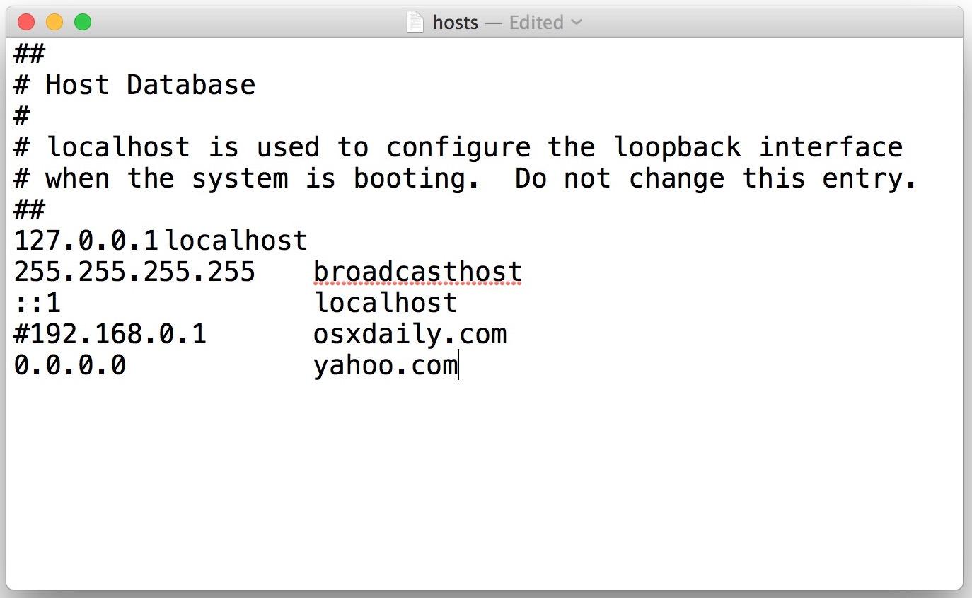 Come modificare il file hosts Mac in TextEdit per OS X