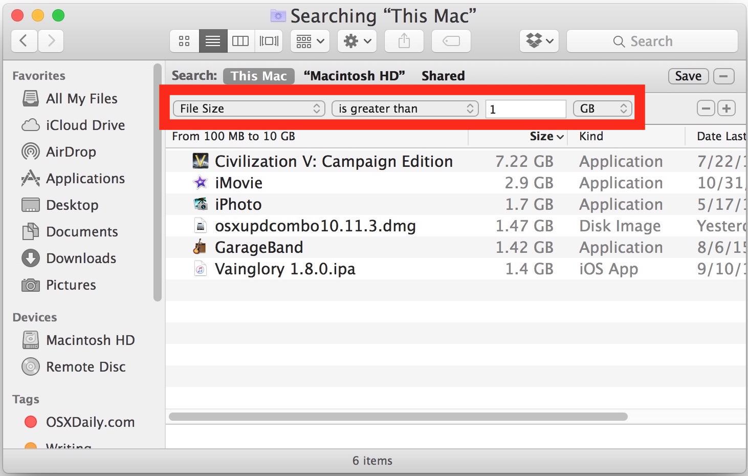 La ricerca di file di dimensioni file di grandi dimensioni nella ricerca di Mac OS X può aiutare a eliminare il disco di avvio che è pieno