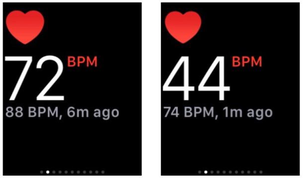 Lettura della frequenza cardiaca di Apple Watch