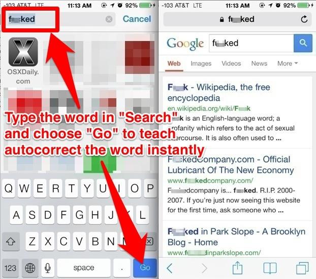 Insegna parole di correzione automatica con Ricerca Safari