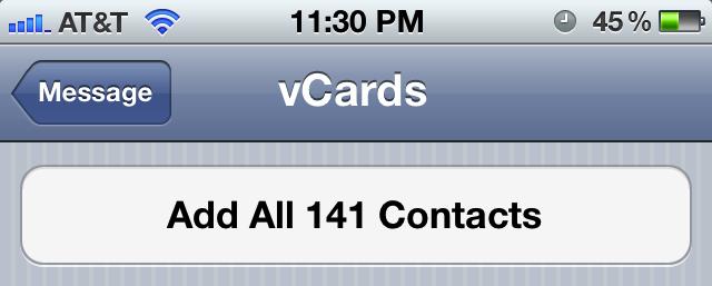 Importa contatti vCard su iPhone