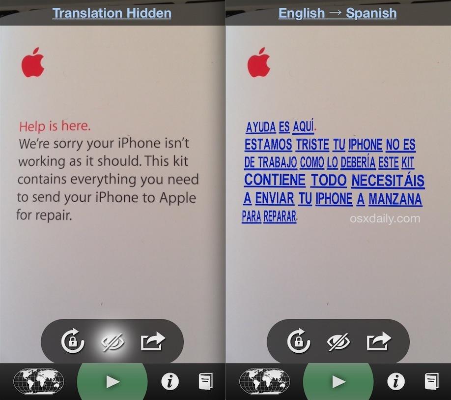 Traduzione in linguaggio istantaneo di Word Lens su iPhone