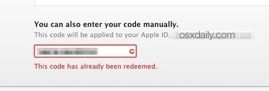 Codice già riscattato errore di download Yosemite