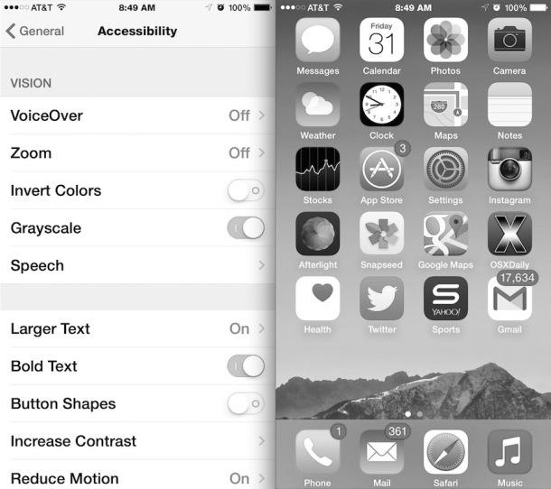 Modalità di visualizzazione dell'iPhone in scala di grigi