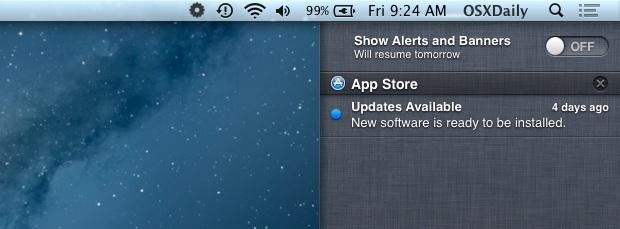 Disattiva temporaneamente gli avvisi e le notifiche del Centro notifiche in OS X