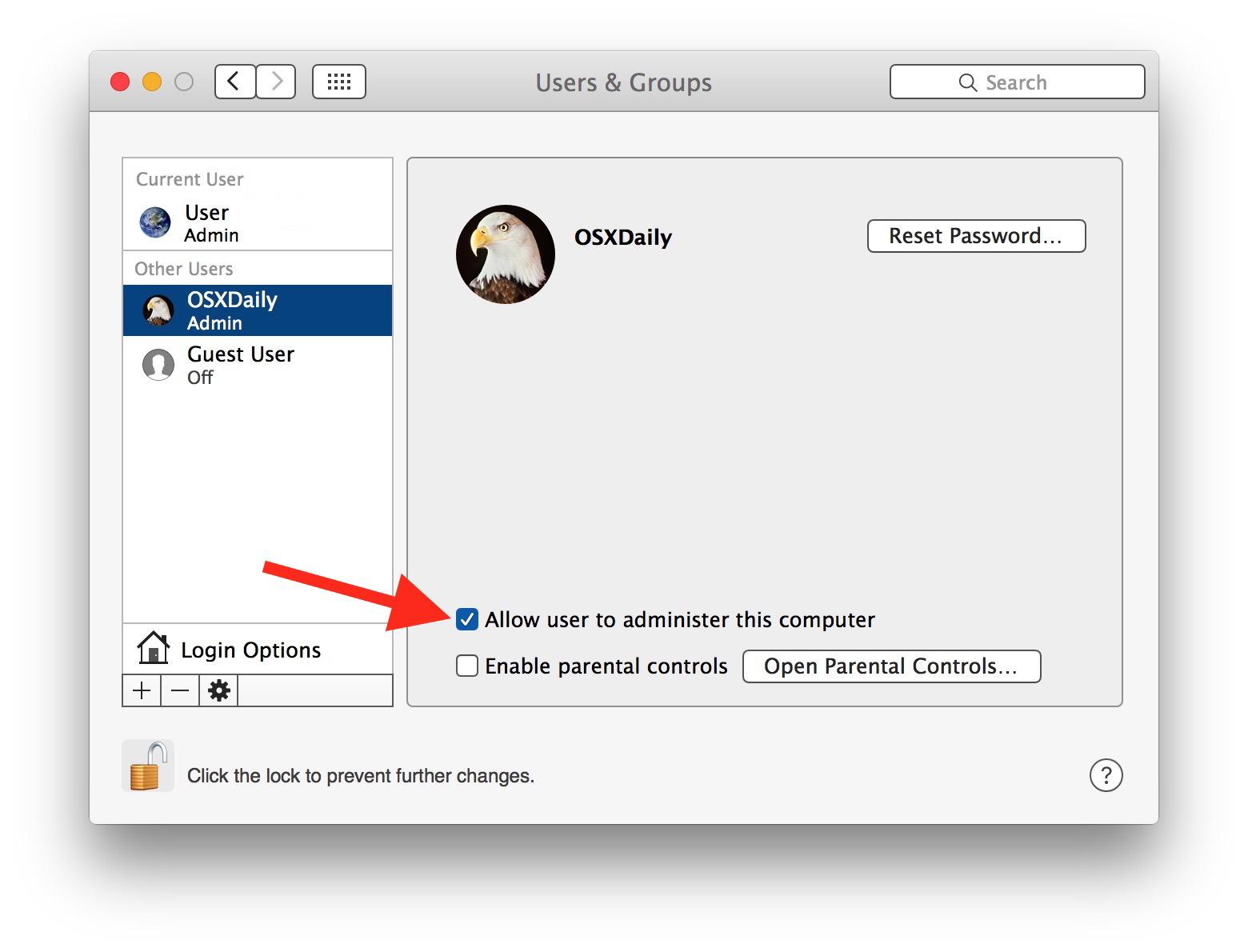 Assegna l'accesso utente standard all'Amministratore su Mac OS X