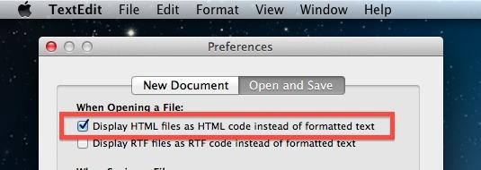TextEdit Visualizza codice sorgente HTML