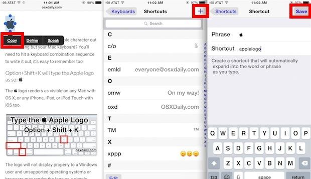 Digita il logo Apple in iOS con una scorciatoia da tastiera