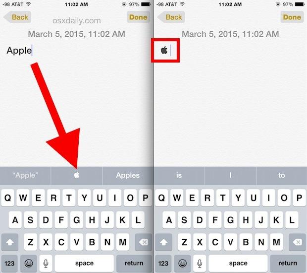 Digita il logo Apple su un iPhone