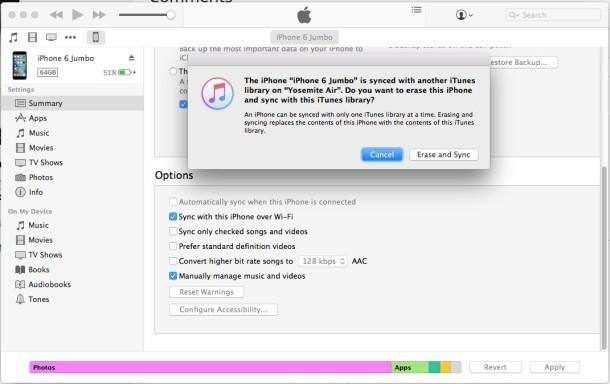 Cancella iPhone e sincronizza con la libreria di iTunes o non con il messaggio iTunes