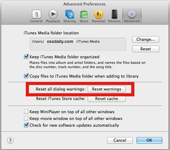 Ripristina avvisi di dialogo in iTunes