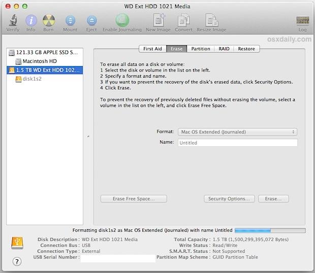 Cancellare il disco rigido esterno nel formato compatibile con Mac