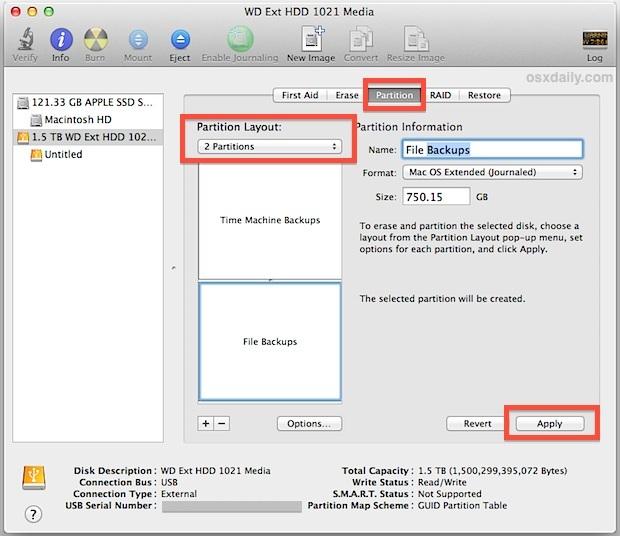 Dividere un disco rigido per la macchina del tempo e l'archiviazione dei file a duplice uso