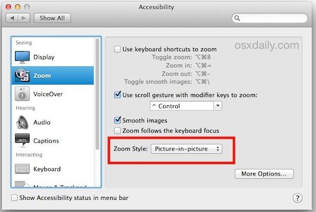 Abilita la finestra di zoom Picture in Picture in Mac OS X.
