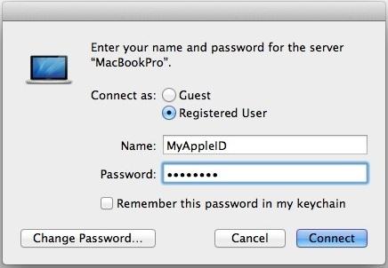 Connettiti a un Mac Server utilizzando un ID Apple approvato
