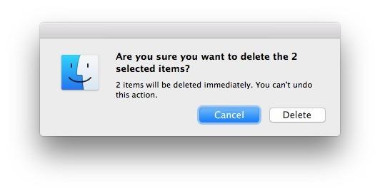 Conferma per eliminare immediatamente un file in Mac OS X