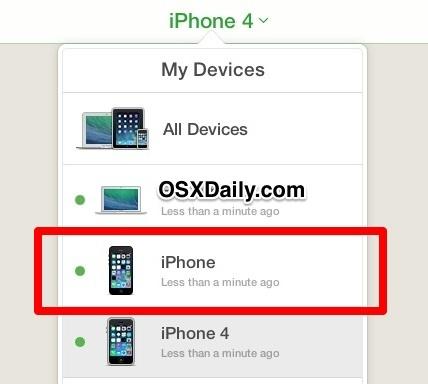 Seleziona l'iPhone mancante dall'elenco I miei dispositivi
