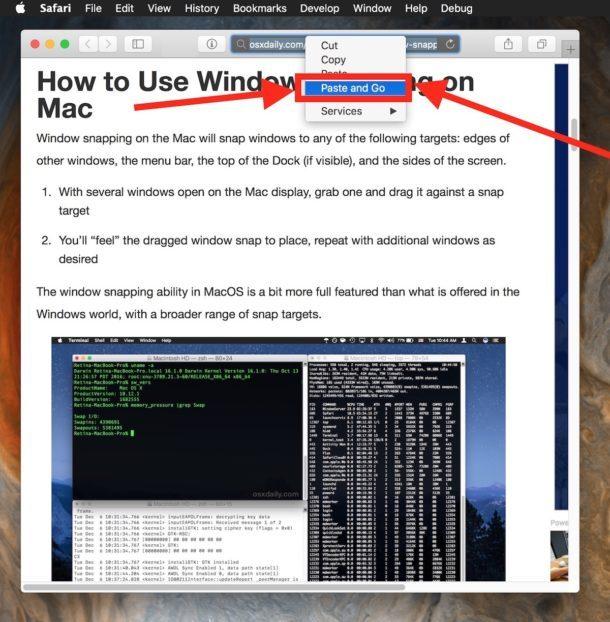 Usa Incolla e vai in Safari per Mac
