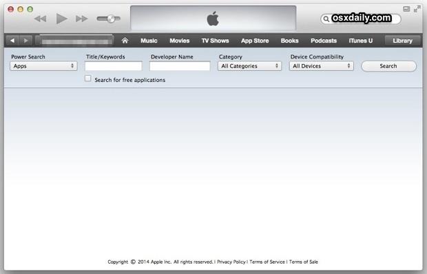 App Power Search con iTunes