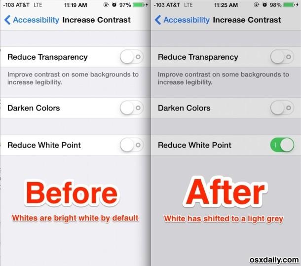 L'effetto di ridurre il punto di bianco in iOS ha dimostrato