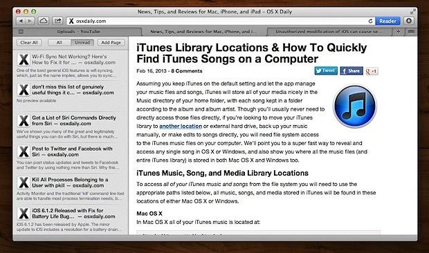 Elenco di lettura in Safari per OS X
