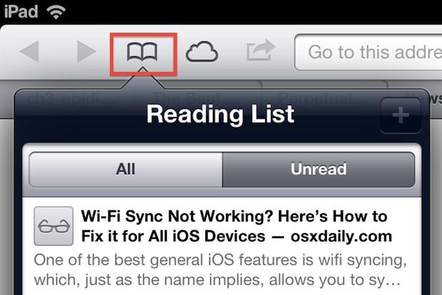Accedi alla lista di lettura in iOS