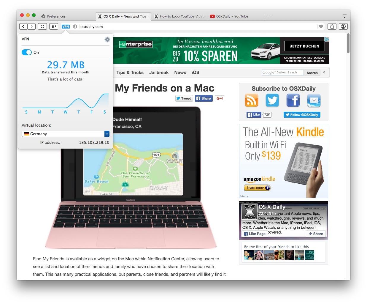 Utilizzando la VPN Opera gratuita