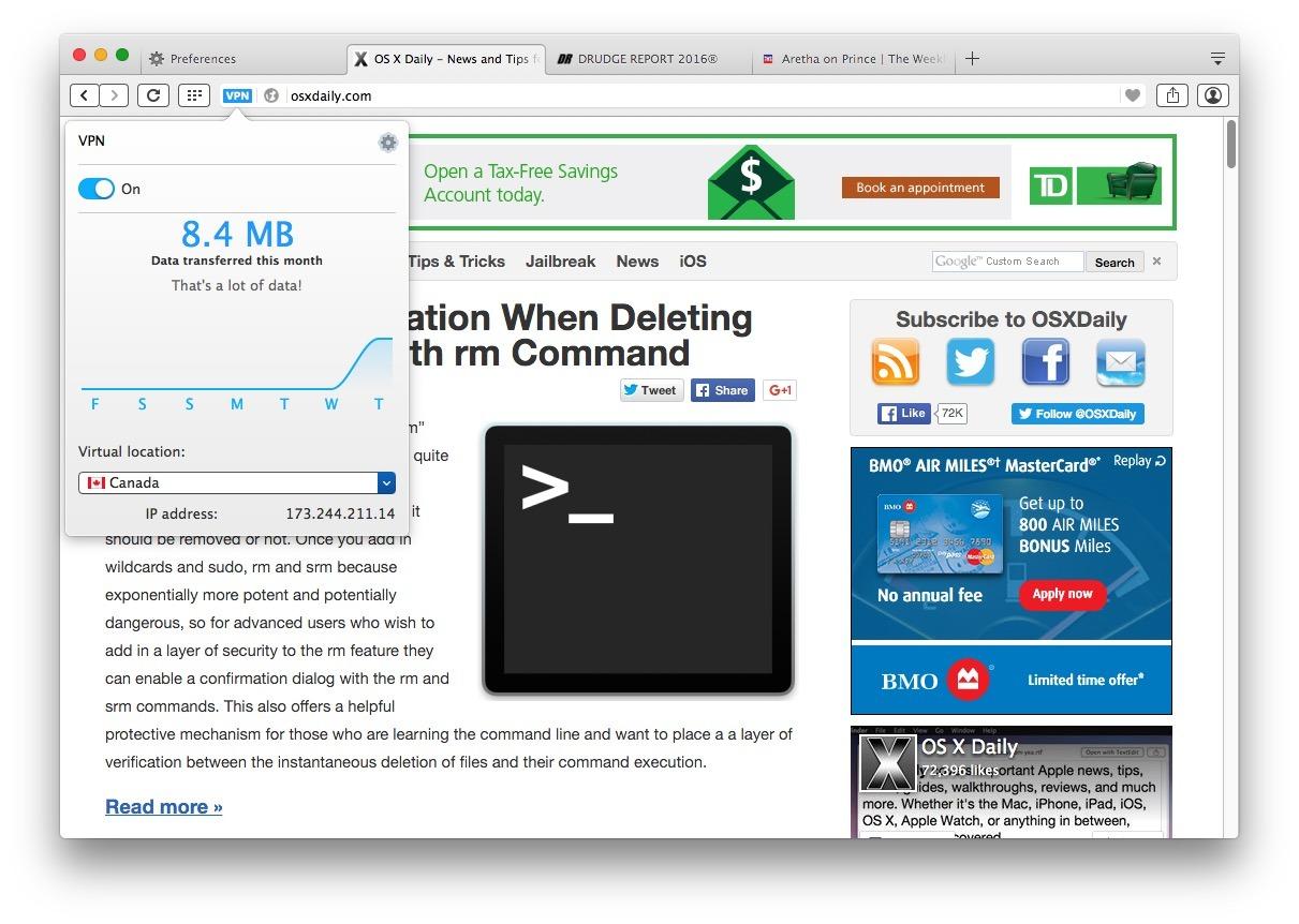 Controllo dell'utilizzo dei dati su Opera VPN