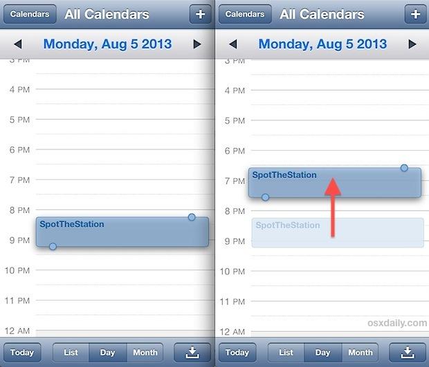 Spostare rapidamente gli orari degli eventi e degli appuntamenti nel calendario di iOS