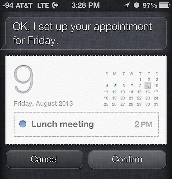 Crea appuntamenti con Siri