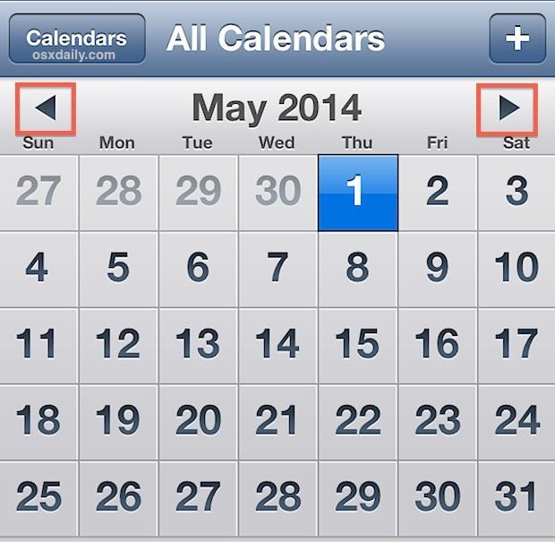 Sfoglia rapidamente i calendari toccando e tenendo premuto