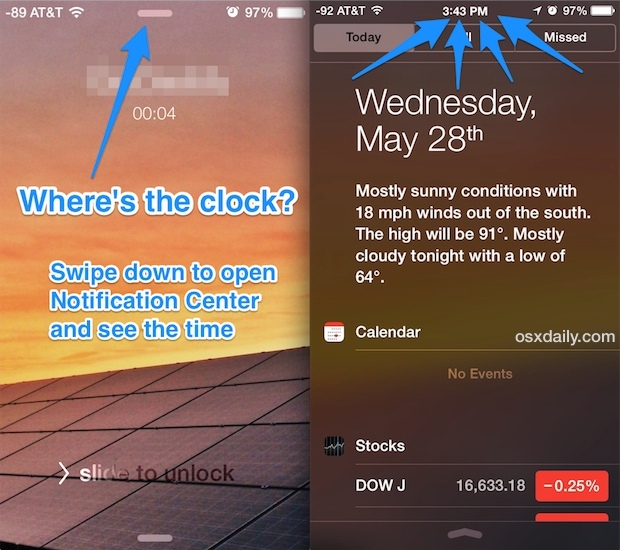 Vedi l'orologio e l'ora quando su una telefonata iPhone nella schermata di blocco