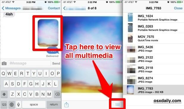 Guarda tutte le foto e i filmati in una conversazione iMessage con l'app Messaggi per iOS