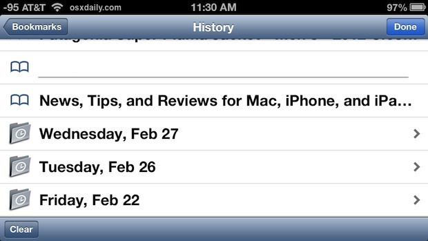 Cronologia completa di navigazione mostrata su iPhone